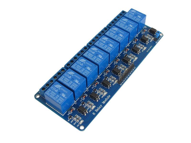 carte 8 relais contrôlable en DMX avec l'arpschuino et l'adaptateur breadboard